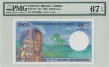 "New Listing1997 ""Comoros"" French Africa 2500 Francs *Rare* ( Pmg 67 Epq )"