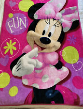 "Disney Minnie Mouse  Girls Fleece Throw Blanket 45"" X 60"" Pink Collector EUC"