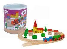 Eichhorn Kinder Holzspielzeug - bunte Holz Eisenbahn Bausteine 30 teilig