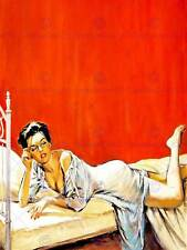 LADY ON BED MYSTERY OF THE RED WALL VINTAGE PIN UP NEW ART PRINT POSTER CC3469