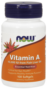 NOW FOODS Vitamin A 10000 IU (from Fish Liver Oil) - 100 caps, SHIPPING WORLDWID