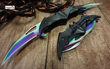 Batman knife rainbow color two blades spring assisted Dark Knight