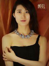 Collana Corto D'oro Multicolore Art Deco Blu Verde Amber Fiore Retrò JD5