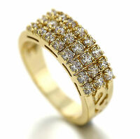 18K GOLD GF ETERNITY WOMENS SOLID ENGAGEMENT WEDDING BAND RING Simulated Diamond