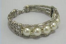 Beautiful Men and Women Jewelry tibet silver white pearl bracelet