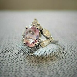 3Ct Oval Cut Pink Sapphire Diamond Engagement Cocktail Ring 14ct White Gold Over