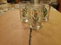3 VINTAGE DRINKING GLASSES Various Flower Pattern 4.5 inch JUICE GLASS