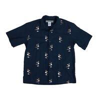 Billabong Men's Large Vintage Hawaiian Aloha Camp Shirt Dark Blue Palm Trees