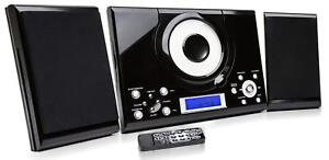 CD Player GTMC-101 Black Micro Stereo Hi Fi System USB Aux In Clock Alarm Radio