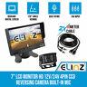 "7"" LCD Monitor HD 12V/24V 4PIN CCD Reversing Camera Rearview Built-in Mic BLACK"