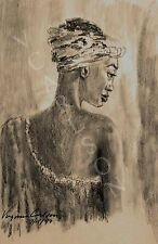 AFRICAN WOMAN ETHNIC REALISM SEPIA 8.5 X 11 FRAMEABLE PRINT ARTWORK SIGNED