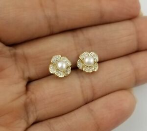 14K Yellow Gold Over Sterling Silver Round White Pearl Flower Stud Earrings