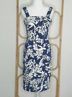 Review Floral Blue Sleeveless Sheath Pencil Office Dress Size 8