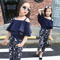 Toddler Kids Baby Girl Summer Outfits Off Shoulder T-shirt Tops+Floral Pants Set