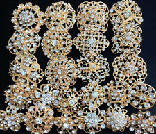24 pcs lot Mixed Alloy Golden Rhinestone Crystal Brooch DIY Wedding Bouquet DIY