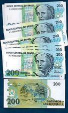 BRAZIL  (1992)  200 CRUZEIROS  -  P.229  -   UNC
