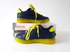 GEOX JR KOMMODOR Boys Light Up Trainers Navy/Lime 11.5