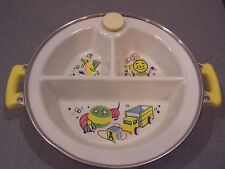 "Feeding Vintage7"" Bartsch Divided Baby Warming Dish Plate 1940s Bakelite Handle Top"