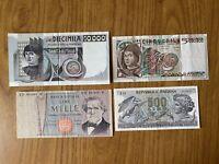 LOTTO 4 BANCONOTE LIRE 10000 DEL CASTAGNO 5000 ANTONELLO 1000 VERDI II TIPO 500