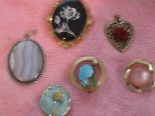 cloisonne, cameo, some may be vintage Six misc brooches and pins and pendants: