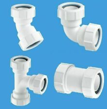 32mm Waste Pipe Fittings 45 & 90 Elbow, Straight, Swept Tee Compression