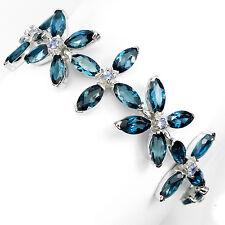 Sterling Silver 925 Genuine Marquise London Blue Topaz Floral Bracelet 7 Inch