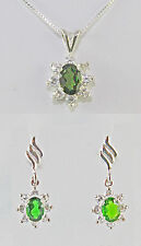 Chrome Diopside 7X5mm Cluster Necklace and Stud Earring Set Sterling Silver