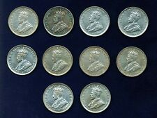 AUSTRALIA GEORGE V  1925   1 SHILLING SILVER COINS (10),  ALMOST XF