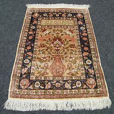 Seidenteppich Hereke 69 x 50 cm Orient Teppich Wandteppich Vase Silk Carpet Rug