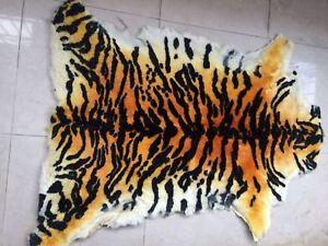 Genuine Sheepskin Tiger Rug Soft Real Fur Bedroom Chair Sofa Carpet Mat Blanket