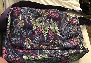 """Vera Bradley Messenger Bag Purple 12"""" H x 15"""" L x 5.5"""" Deep 45"""" Strap"""