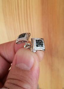 14K W Gold Mens & Ladies 0.05ct. Black Lab Diamond Screw Back Stud Earrings 8mm