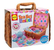 Tea Party Set Pretend Play Girls Toy Kids Wicker Picnic Basket Porcelain Cups