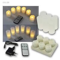 6er Set LED Kerzen mit Ladestation & Fernbedienung, flackernd, Kerze flammenlos