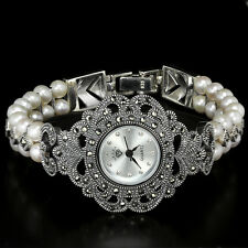 Sterling Silver 925 Antique Design Button Pearl & Marcasite Watch 6.75 Inch