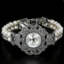 Argento Sterling 925 Design Antico Pulsante Pearl & Marcasite Watch 6.75 pollici