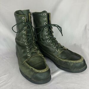 Vintage Green Leather Browning The Sportsman Leather Lace Up Boots Men's 10.5 D