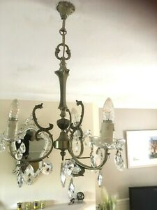 PAIR OF FRENCH VINTAGE PEWTER 3 ARM GLASS CRYSTAL CHANDELIERS