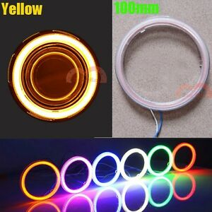 2pcs 100mm Yellow Car Motorcycle Headlight Angel Eye Cob Halo Ring LED Light DRL