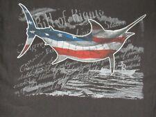 Guy Harvey Bill de Derechos Bandera Eeuu Pez Espada Negro Mediano Camiseta D1142