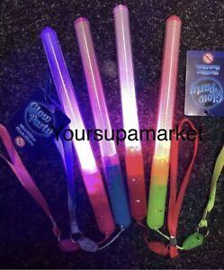 4 x Flashing Glow Stick LED Wands Party Rave Batons Light Up D Sticks Kids Toys