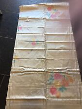 Vintage Hand Painted Damask Table Cloth Linen