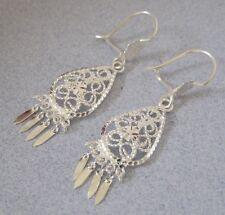 Mexican Silver Taxco Spanish Filigree Swirls Teardrop Dangling Artisan Earrings