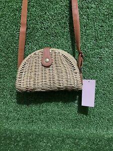 Ladies Straw Wicker Half Moon Crossbody Shoulder Bag Handbag Purse - BNWT