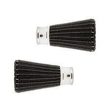 Pair Of 28mm Black Basket Weave Mix & Match Curtain Pole Finials - Chrome