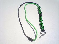 Paracord DNA Braid Lanyard Hand Made Neon Green and Black with a key Fob