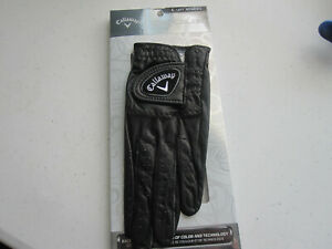 1 CALLAWAY WOMENS OPTICOLOR LEATHER BLACK GOLF GLOVE SIZE LARGE  NEW