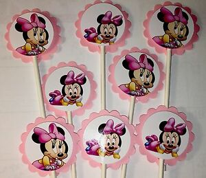 30 BABY MINNIE MOUSE Cupcake Toppers Birthday Party Favors, Baby Shower Decor 30
