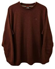 THE NORT FACE Mens Crew Neck Pullover Fleece Sweater XXL Red Knit Burgundy