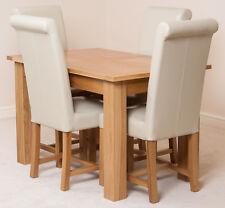 Hampton Oak 120cm Extending Dining Room Table & 6 Brown Washington Chairs Ivory